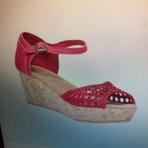 Toms Woven Satin Platform Wedge Sandals